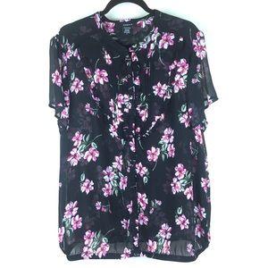 TORRID Black Floral Top